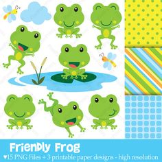 Friendly Frog  Clip Art and Digital Paper Set by pixelpaperprints, $5.00