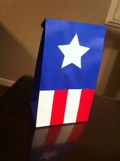 Captain America favor candy treat bags for birthday party.
