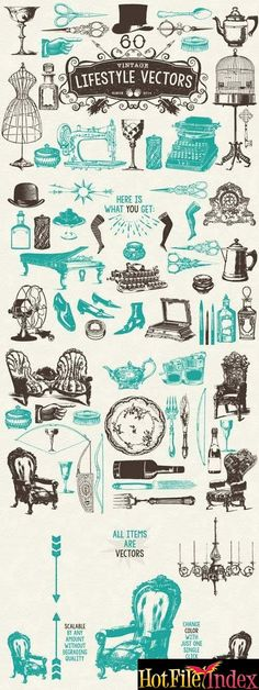 60 Vintage Lifestyle Vectors From HotFileIndex