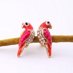 Pair of Sweet Rhinestone Bird Earrings For Women