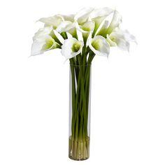 Faux calla lily arrangement in cylindrical glass vase. I wish I could find this in purple!