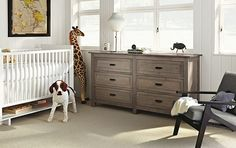 from room and board. gray dresser with white crib. could actually work...