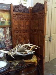 "Carved Wooden Folding Screen  73"" High x 80"" Wide   $340  Vintage Affection Dealer #1680  White Elephant Antiques 1026 N. Riverfront Blvd. D..."