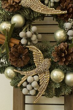 2 turtle doves - Handmade Christmas wreath