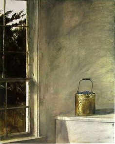 Andrew Wyeth 'Berry Bucket' ca.1968 Tempera paint by Plum leaves