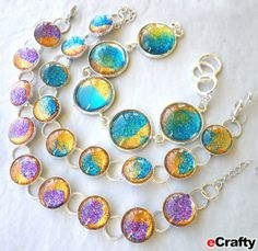 DIY Nail Polish Faux Dichroic Glass Bracelet Recipe from www.eCrafty.com   eCrafty.com ONE SKU 1193E-DIYKIT (contains everything you need: 5...