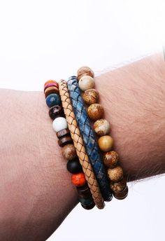 Özel Tasarım Doğal Taş, Deri Kombin Erkek Bileklik EB39 - Men Bracelet