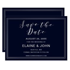 Classic Navy Silver Wedding save the dates Card - wedding invitations diy cyo special idea personalize card