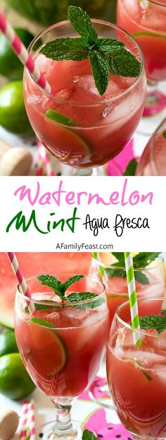 Watermelon Mint Agua Fresca - A Family Feast