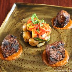 bistec a la parrilla | hangar steak, vegetable medley, red chimichurri sauce