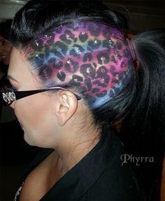 Rainbow Leopard Airbrush with black iridescent pyramid stud design hair