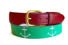 Green anchor needlepoint belt. Asher Riley Collection. Designed in the USA. Hand-Stitched 100% Cotton. Full Grain Leather Tab. Solid Brass Buckle. More affordable than our competitors. Please allow 4-6 weeks for quality hand stitching. www.asherriley.com Custom design available. #AsherRiley #AsherRileyC