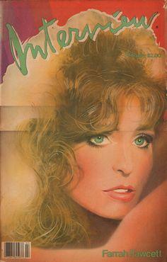 Interview Magazine cover Farrah Fawcett by Richard Bernstein February 1982.