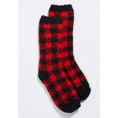 maurices Ultra Soft Buffalo Plaid Fuzzy Crew Socks, Women's, ($11) ❤ liked on Polyvore featuring intimates, hosiery, socks, crew socks, crew length socks, crew cut socks, elastic socks and maurices