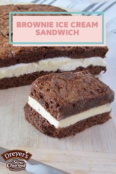 Looking for a unique sweet treat to serve at your next family gathering or birthday party? Using layers of chewy chocolate brownie and Dreyer's Slow Churned Vanilla light ice cream, this dessert recipe is easy to assemble. This Brownie Ice Cream Sandwich will leave your guests asking for more!