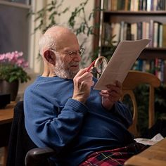 Dr. Oliver Sacks, at home in his study, 2015.