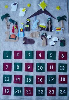 Felt Nativity Advent - I made one like this. I sewed a long loop up to to put a dowel through and attached some cord on the dowel ends to hang it.