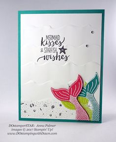 Stampin' Up! Magical Mermaid DOstamperSTARS swap shared by Dawn Olchefske (Anna Palmer) Diy Birthday, Birthday Cards, Creative Connections, Nautical Cards, Rainbow Card, Card Tricks, Kids Cards, Craft Cards, Stamping Up