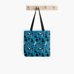 """Cat Lovers Teal Pattern"" Tote Bag by HavenDesign 
