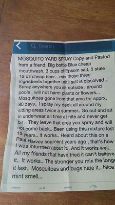 Mosquito yard spray - mouthwash, Epsom salt, beer:
