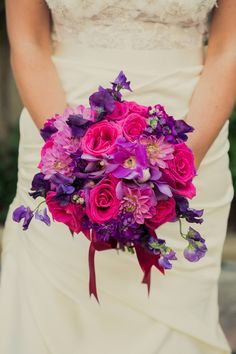Pink and Purple Wedding Flowers   Glamorous New Orleans Wedding by Joie du Jour Photography