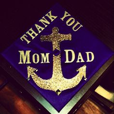 Graduation | Delta Gamma | Decorated mortar board in royal and gold... awesome grad cap #GoPirates