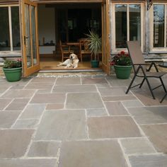 Pavestone Paving- Antique Sandstone Tudor - Oxford- not sure about this type of stone but interesting Concrete Patios, Patio Slabs, Paved Patio, Patio Stone, Cement Patio, Brick Pavers, Flagstone, Outdoor Paving, Garden Paving