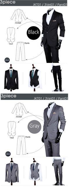 Men's Skinny Notch Lapel Suit Set (Blazer, Trousers and Vest)