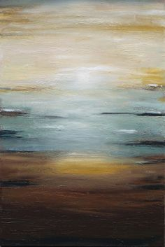 Abstract painting Seascape ocean textured art by LaurenMarems, $250.00