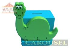 A lovely wooden dinosaur on a blue money box! Very cute for a little boys room. Hand crafted and made in Dorking, Surrey, UK!