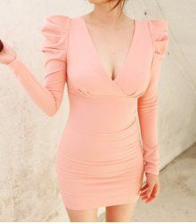 Alluring Plunging Neck High Waist Puff Sleeves Bodycon Dress For Women