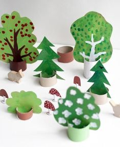 amazing kids craft ideas to get you through the school holidays The best kids craft projects, via WeeBirdycom: cardboard forest.The best kids craft projects, via WeeBirdycom: cardboard forest. Craft Projects For Kids, Diy For Kids, Wood Crafts, Easy Crafts, Diy And Crafts, Crafts For Kids, Craft Kids, Kids Table Wedding, Wedding With Kids
