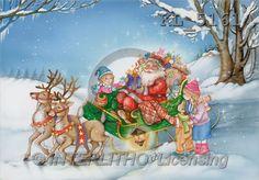 Interlitho, Michele, CHRISTMAS SANTA, SNOWMAN, paintings, santa, sleigh, kids(KL5161,#X#) Weihnachtsmänner, Schneemänner, Weihnachen, Papá Noel, muñecos de nieve, Navidad, illustrations, pinturas
