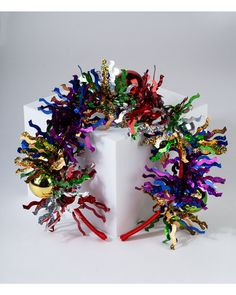 Haarreif mit buntem Lametta und Weihnachtskugeln | 5,95€ | SIX Fascinator, Headpiece, Bunt, Crown, Christmas, Curvy, Vintage, Jewelry, Hats