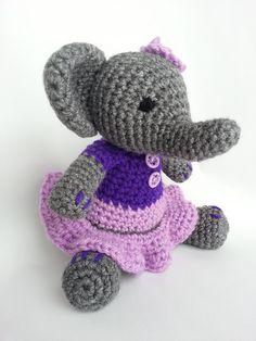 Elephant in purple dress