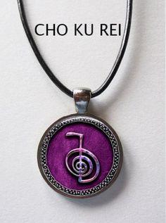 Reiki CHO KU REI glass art pendant Purple with Leather Cord | KeukaSigns - Jewelry on ArtFire