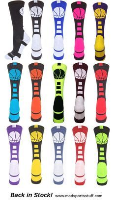 Basketball Logo Crew Socks are back in stock! Fun colors, team colors, neons - so many to choose from...