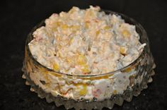 Corn dip - cold  Corn Dip 3 cans of Green Giant Mexican Corn (11 oz drained) 1 can of green chilies (4 oz) 1 bag of Mexican cheese (7 oz or 1 ¾ c) 1 bundle of green onions 1 cup of sour cream 1 cup of mayo ¼ of a cup of jalapenos (or less if its too spicy!)
