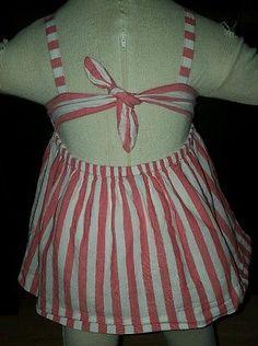 Baby Gap girls 4T open back knot swing tank top shirt stripe pink/red white
