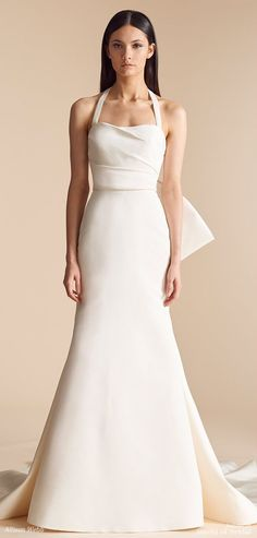 Allison Webb Spring 2018 Ivory silk faille fit to flare bridal gown