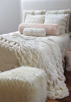 Ultimate luxury for the bedroom - couture faux fur throw blanket