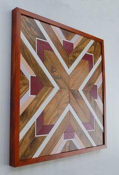 Native American Geometric Design Wood Wall Art, Navajo Tribal Design Wood Wall Art, Wood Wall Decor, Rustic Home Decor, Chevron Design Wood Wall Decor, Wooden Wall Art, Wood Art, Diy Wood Projects, Wood Crafts, Purple Heart Wood, Wood Mosaic, Diy Holz, Pallet Art