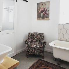 #bathroom #myhome #armchair #barndoor #laundrydoor #paintinginthebath