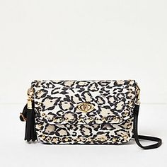 Girls white animal print cross body handbag