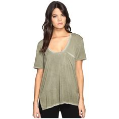 Free People Rising Sun Tee (Moss) Women's T Shirt ($58) ❤ liked on Polyvore featuring tops, t-shirts, lightweight t shirts, short sleeve tee, free people t shirts, short sleeve v neck t shirt and oversized t shirt