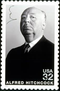 In 1998 the US Postal Service (USPS) a stamp with a portrait of Alfred Hitchcock. Hitchcock (1899-1980) was a famous director in the film industry. He made more than 50 films, some of which are known Psycho, Rebecca, Rear Window, Dial M for Murder, Vertigo, North by Northwest and The Birds.