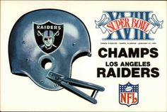 Los Angeles Raiders Super Bowl XVIII Champs Commemorative card for the LA Raiders, winners of Super Bowl XVIII, January 22, 1984 Raiders Los Angeles, Dodgers, Sports Illustrated Covers, Oakland Raiders Football, Raiders Baby, Raider Nation, Sport Football, Champs