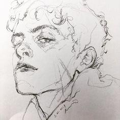 Pencil Art Drawings, Art Drawings Sketches, Portrait Sketches, Portrait Art, Arte Sketchbook, Sketchbook Inspiration, Aesthetic Art, Art Inspo, Painting & Drawing