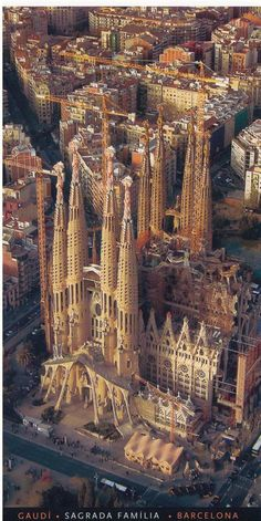 la sagrada família built by Gaudí in barcelona from an air plane view…