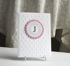 Pink Monogram Initial Cards  handmade greeting card by catSCRAPPIN